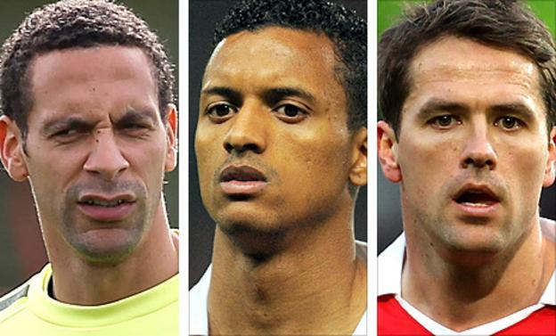 Rio Ferdinand, Nani and Michael Owen