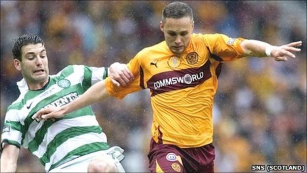Tom Hateley fends off a challenge by Celtic's Charlie Mulgrew