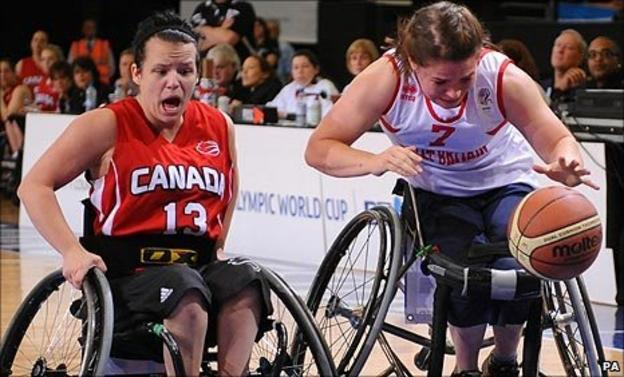Great Britain's Helen Freeman and Canada's Jamey Jewells during the Paralympic World Cup in Manchester on Monday