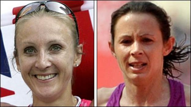 Paula Radcliffe (left) and Jo Pavey