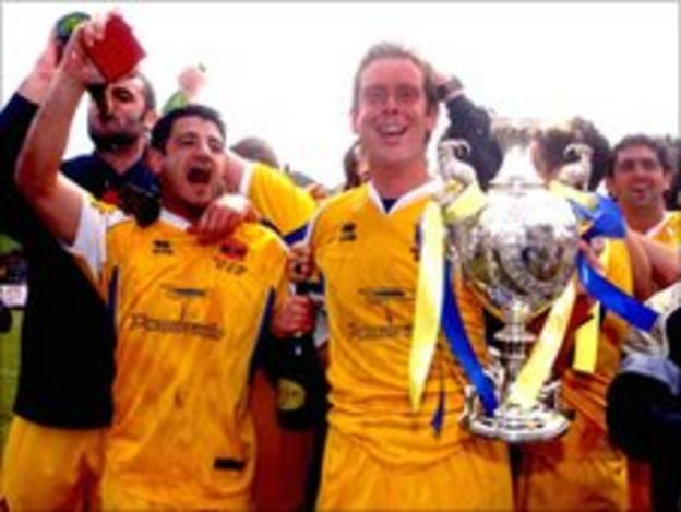 Barry Town celebrate winning the Welsh Cup in 2002/03