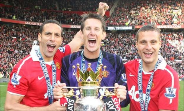 Rio Ferdinand (left) Edwin van der Sar (centre) and Nemanja Vidic (right)