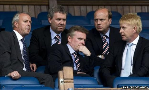Craig Whyte (centre) is joined by Phil Betts (second from right) and Gary Withey (second from left)
