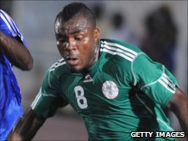 Striker Emmanuel Emenike in action for Nigeria