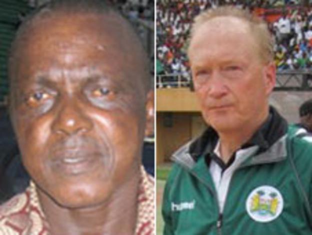 Sierra Leone coach Lars Olof Mattsson (r) and his assistant Christian Cole