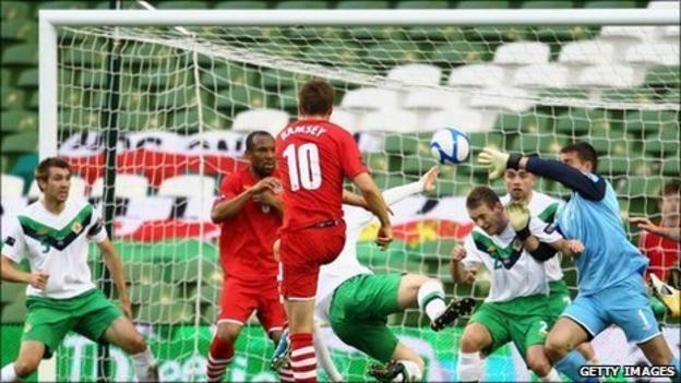 Captain Aaron Ramsey puts Wales ahead against Northern Ireland