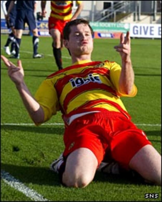 Paddy Boyle celebrates scoring for Partick Thistle