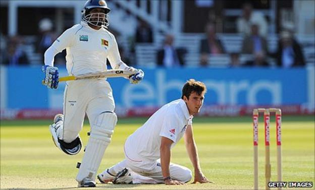 Steven Finn suffers on day two