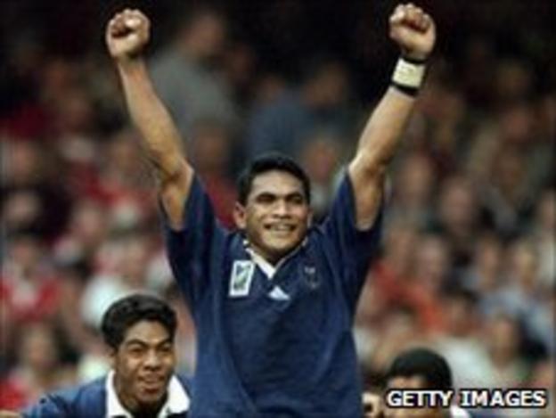 Samoa's Semo Sititi celebrates their 1999 World Cup win over Wales in Cardiff