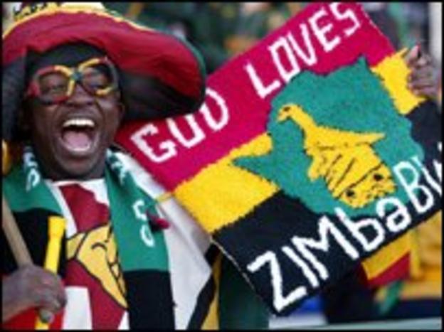 Zimbabwe fan celebrates