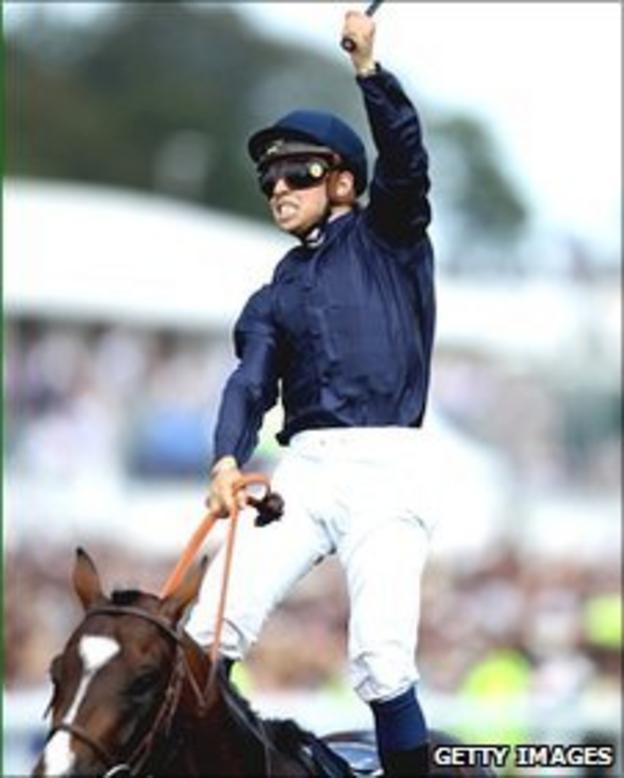 Mickael Barzalona celebrates his win in the Epsom Derby