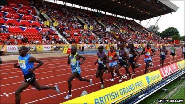 Athletes on the track at Gateshead Stadium
