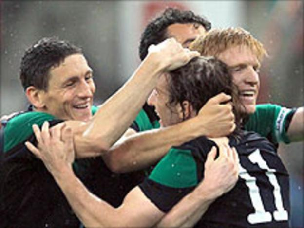 Republic players celebrate after Simon Cox made it 2-0 near the end against Italy