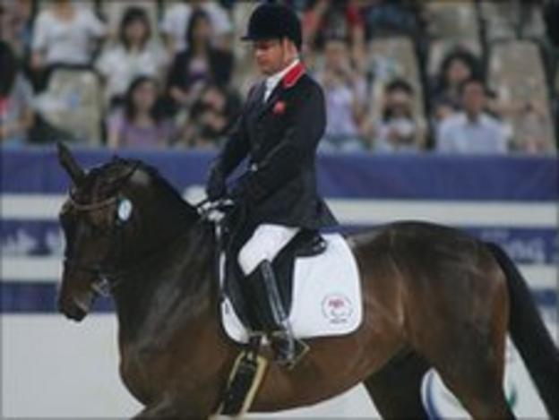 Paralympian Lee Pearson in action at the Beijing Paralympics