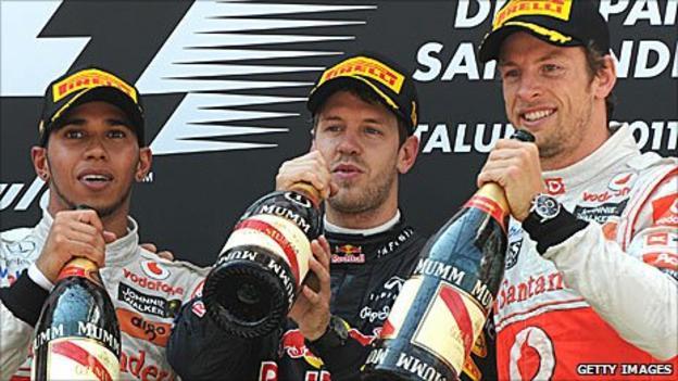 Lewis Hamilton, Sebastian Vettel and Jenson Button