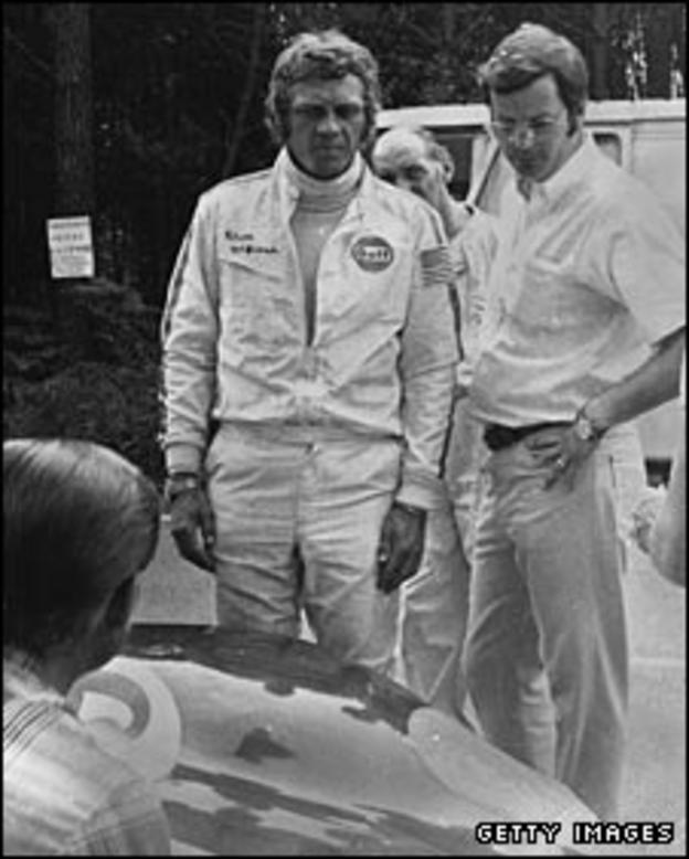 "Steve McQueen on the set of ""Le Mans"""