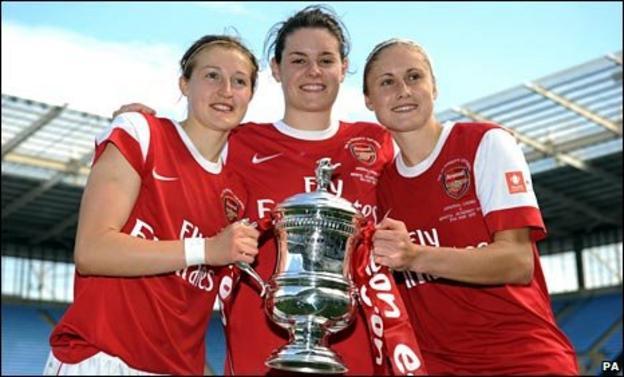 Arsenal's Ellen White, Jennifer Beattie and Steph Houghton celebrate winning the women's FA Cup