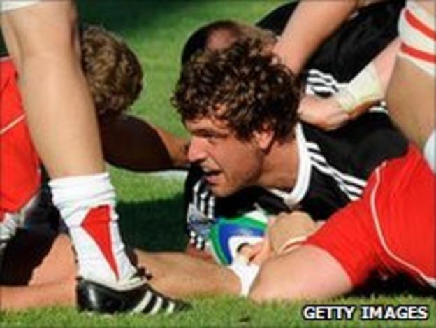 Baby Blacks skipper Luke Whitelock goes over against Wales U20 in Rovigo