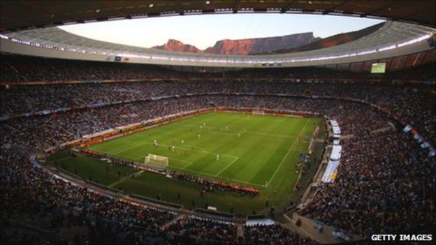 Cape Town's Green Point stadium stages the World Cup quarter-final between Germany and Argentina