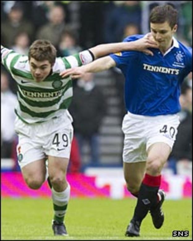 Celtic's James Forrest (left); Rangers Jamie Ness (right)