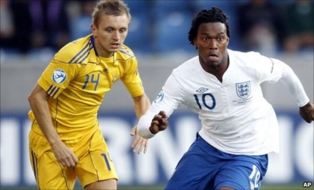 Ukraine's Oleg Golodyuk (left) and England's Daniel Sturridge (right)