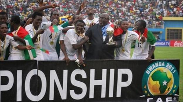 Burkina Faso celebrate winning the African Under-17 Championship
