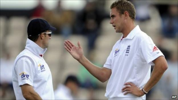 Andrew Strauss with Stuart Broad
