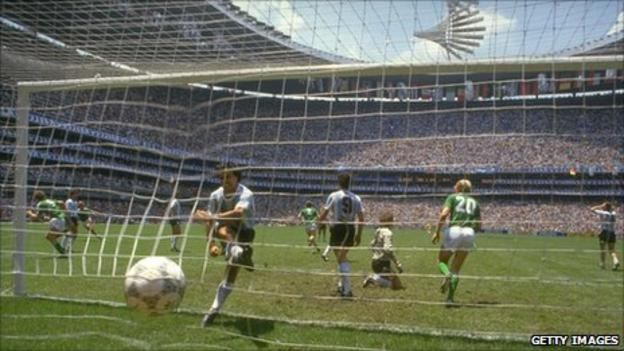 Champions Argentina take on Germany at Mexico City's Azteca Stadium in the 1986 World Cup final