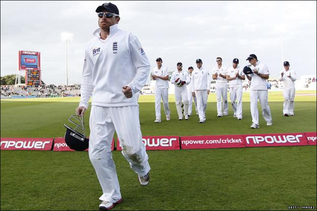 Ian Bell leaves the field at the close of play