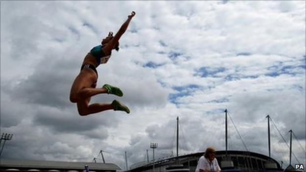 Jessica Ennis competes in Manchester