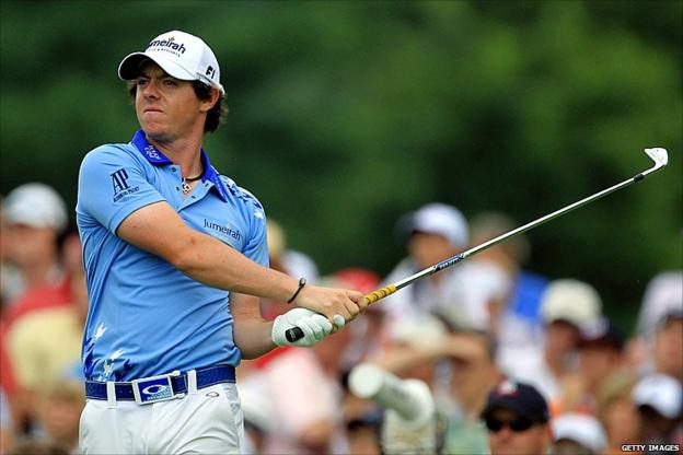 Rory McIlroy hits his tee shot on the second