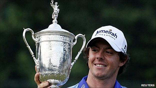 Rory McIlroy with the US Open trophy