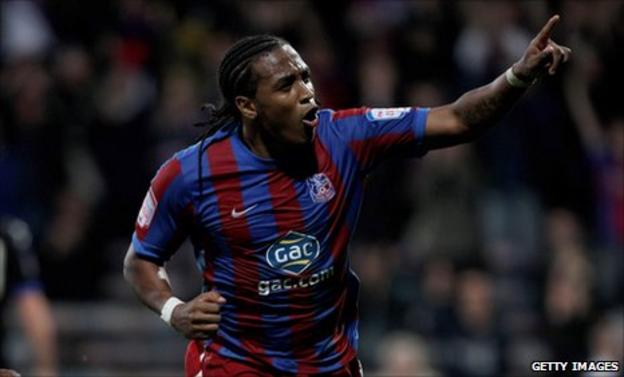 Neil Danns celebrates a goal for Crystal Palace