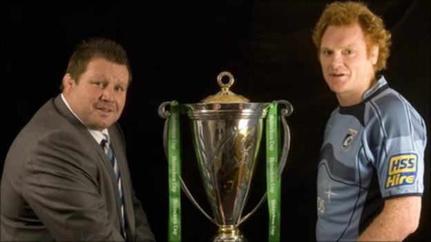Dai Young with Cardiff Blues captain Paul Tito