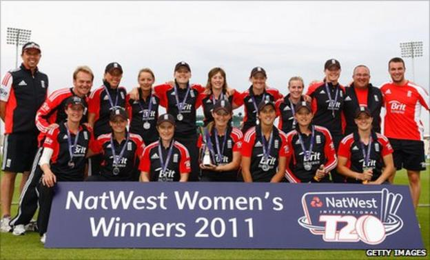 England celebrate with the Twenty20 series trophy