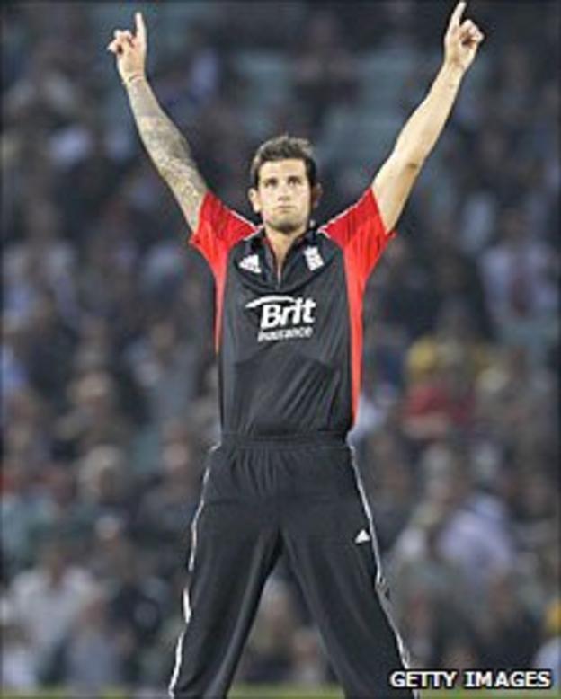 Jade Dernbach celebrates a wicket