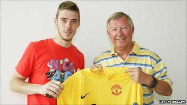 David de Gea with Sir Alex Ferguson