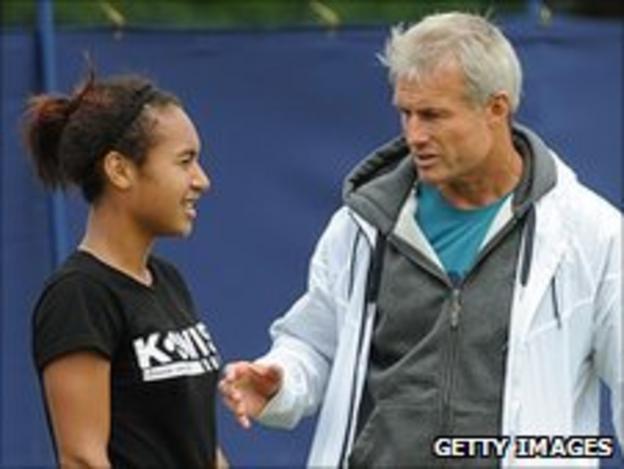 British tennis player Heather Watson and coach Nigel Sears