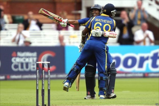 Chandimal and Mathews celebrate