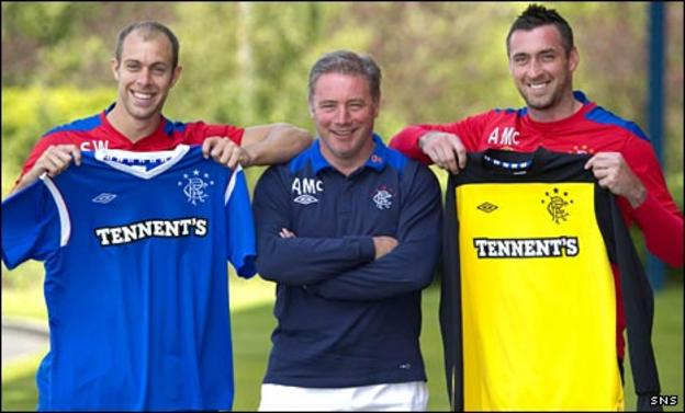 Steven Whittaker, Ally McCoist and Allan McGregor celebrate the new contracts