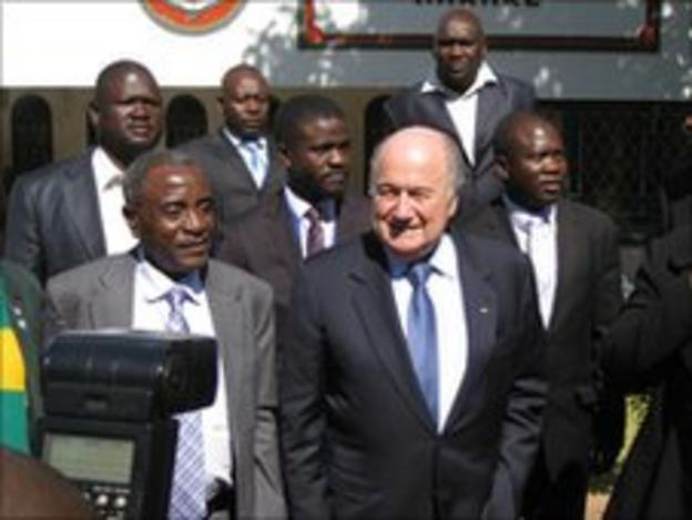 Sepp Blatter in Harare on 4th July