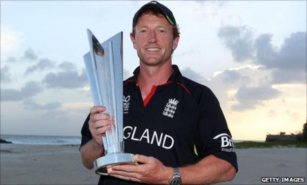 Paul Collingwood with the World Twenty20 trophy in 2010