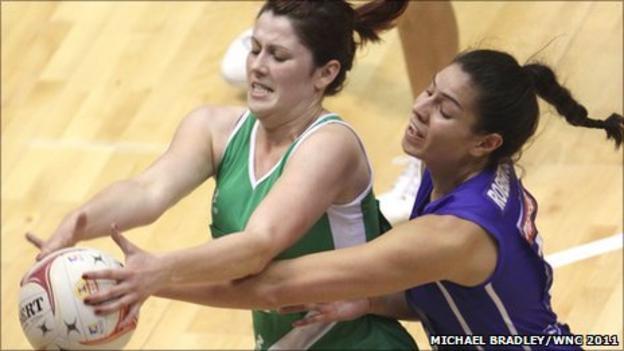 Kyla Bowman is challenged by Samoa's Sanonu Robertson in Singapore