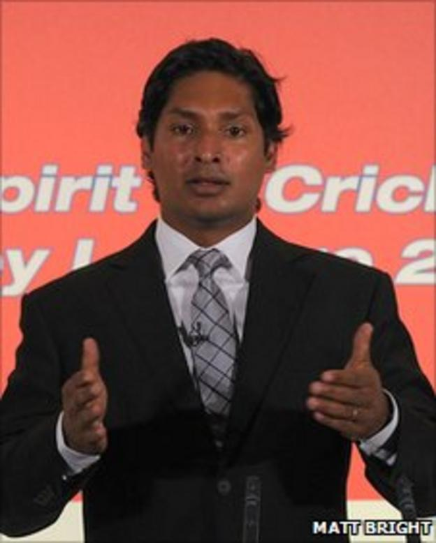 Kumar Sangakkara delivering the annual Cowdrey lecture