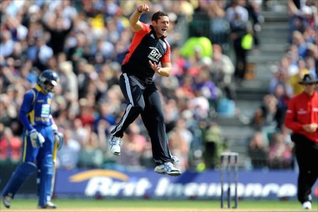 Tim Bresnan celebrates taking the wicket of Dimuth Karunaratne