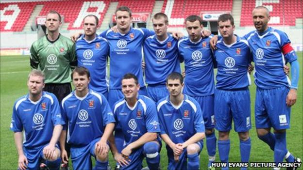 Bangor City's player line-up before last season's Welsh Cup Final
