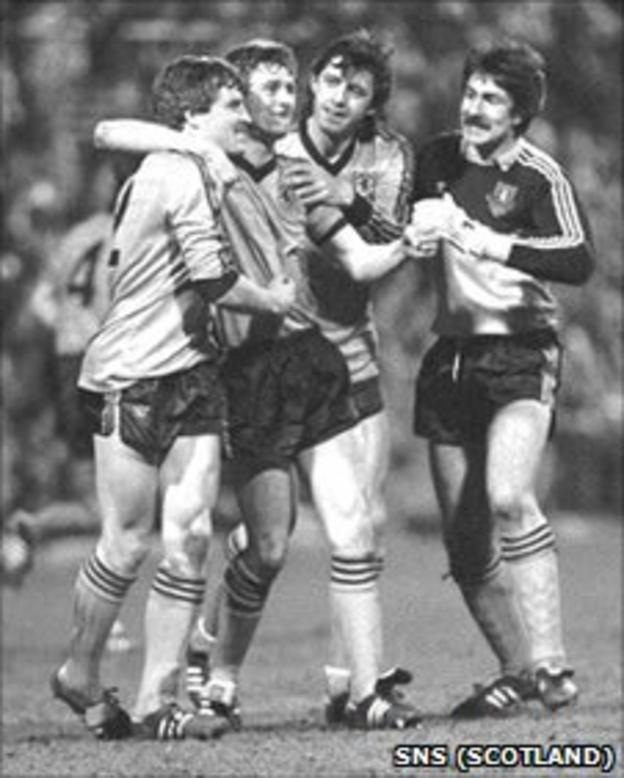 Paul Hegarty is congratulated for his goal against Roma
