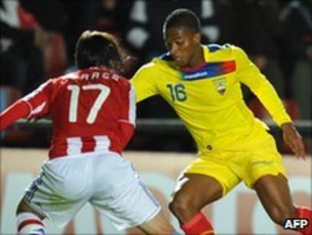 Manchester United winger Antonio Valencia in action for Ecuador against Paraguay in Copa America