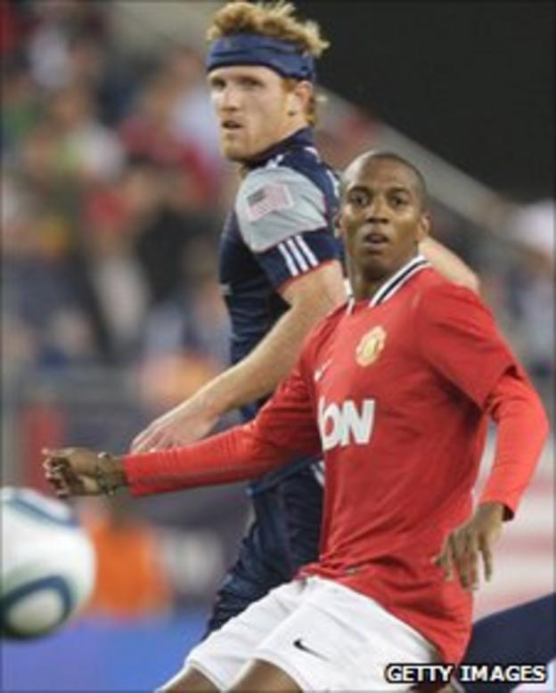 Ashley Young in action for Manchester United against New England Revolution