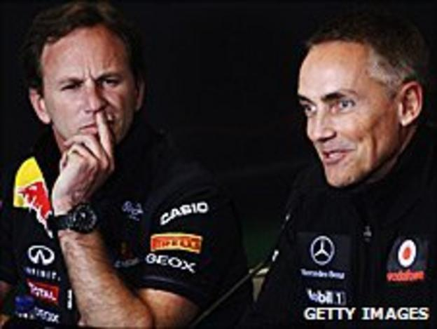 Red Bull team principal Christian Horner and his McLaren opposite number Martin Whitmarsh